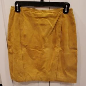 Vintage 90s Mustard Yellow/Gold Suede Mini Skirt